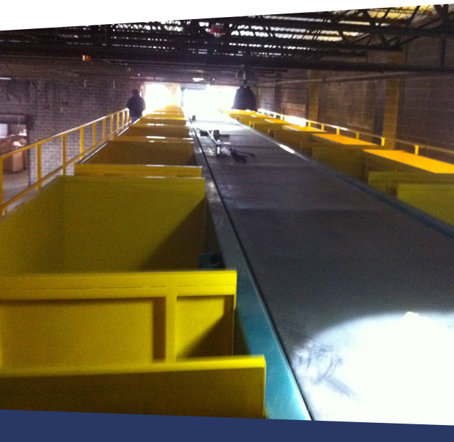 conveyor system with guardrails and custom chutes