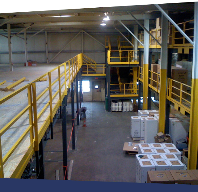 sree-standing mezzanine with stairs and safety gate
