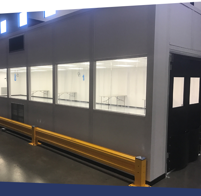 ISO modular cleanroom with barrier system